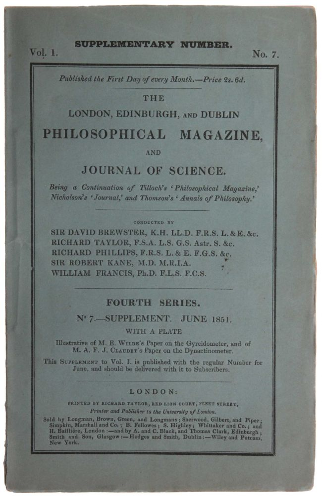 'On the Theory of Probabilities, and in particular on Mitchell's Problem of the Distribution of the Fixed Stars,' pp. 521-530 in: The London, Edinburgh and Dublin Philosophical Magazine, Fourth Series, Vol. 1, No. 7 – Supplement, June, 1851. George BOOLE.