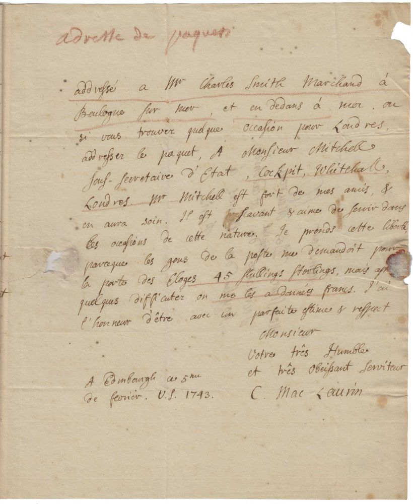 Signed autograph letter, four pages in French, to Jean-Jacques d'Ortous de Mairan, secretary of the Académie des Sciences in Paris, discussing Maclaurin's Treatise of Fluxions, and also the Académie's geodetic mission to Peru. Colin MACLAURIN.