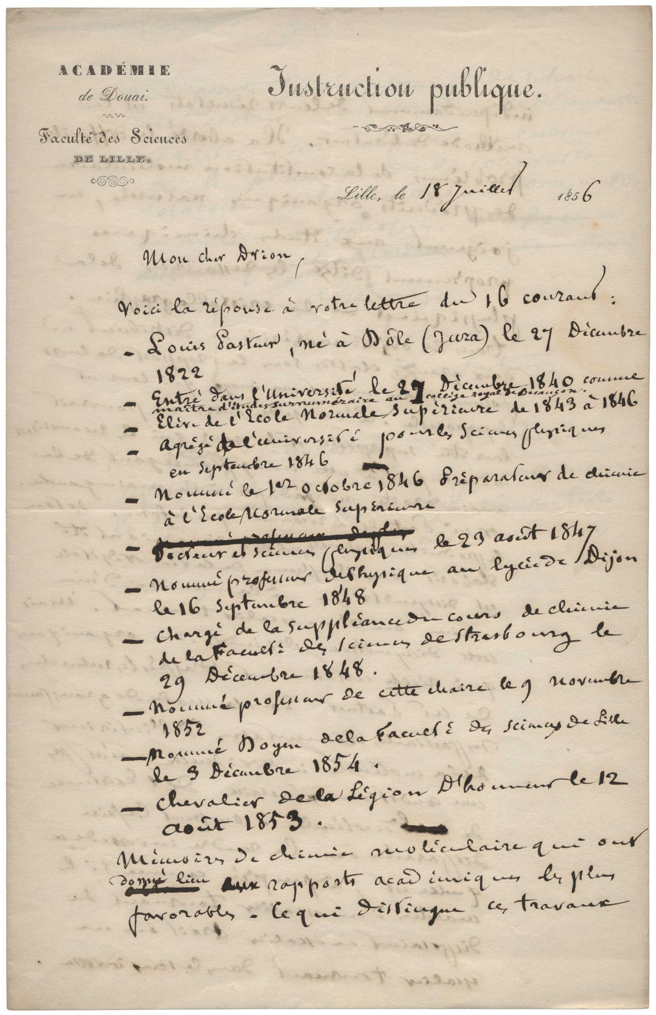 """Autograph letter signed (""""L. Pasteur""""), in French, Lille, 18 July, 1856, to Charles Alexandre Drion. Louis PASTEUR."""