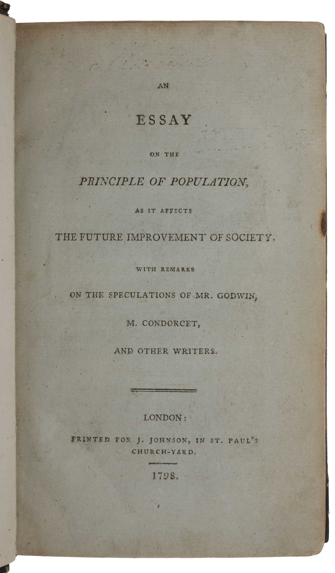 first essay on population by thomas malthus in the modern history sourcebook