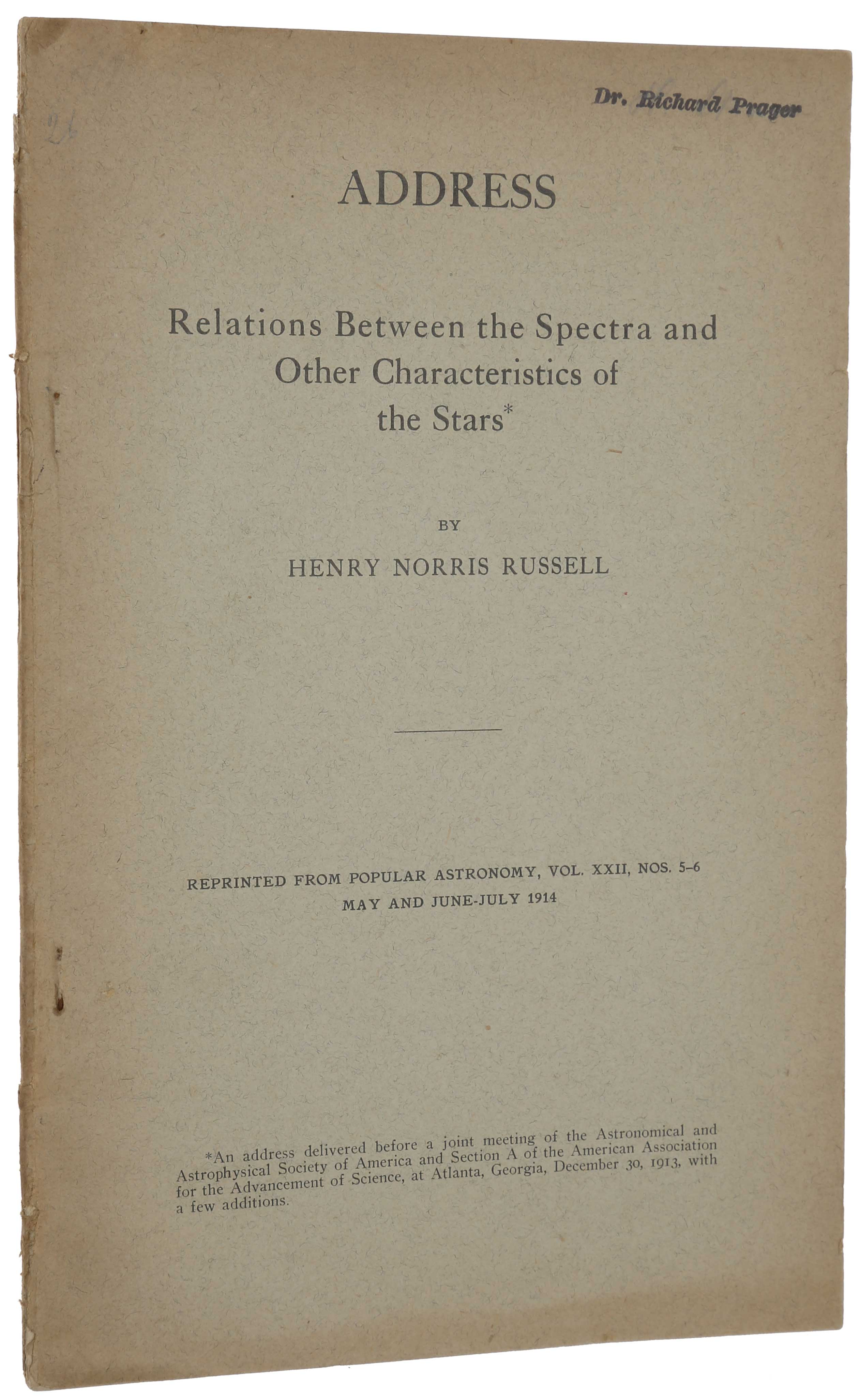 Relations Between the Spectra and Other Characteristics of the Stars. Offprint from Popular Astronomy, Vol. 22, Nos. 5 – 6, 1914. Henry Norris RUSSELL.