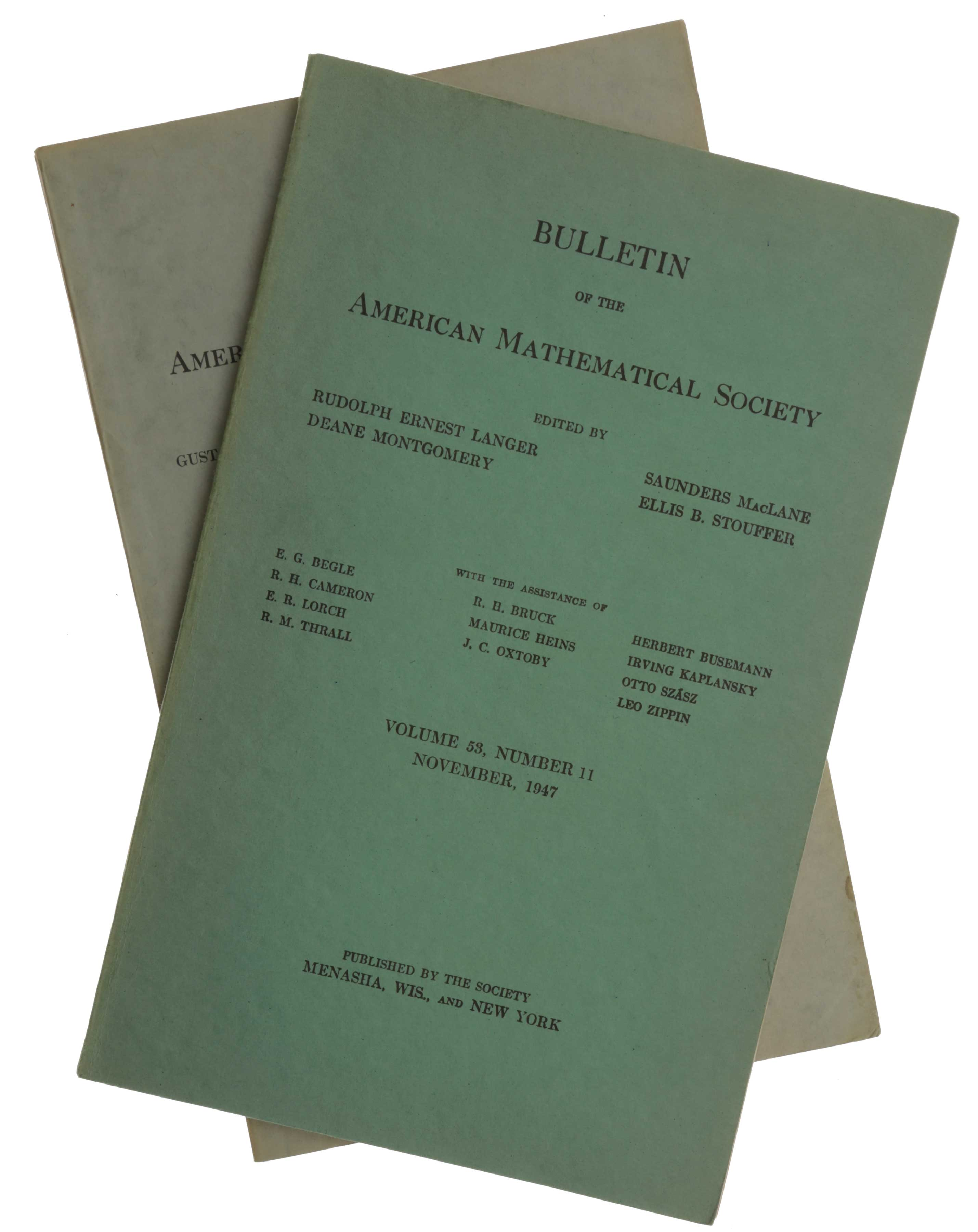 'Numerical Inverting of Matrices of High Order,' pp. 1021-1099 in Bulletin of the American Mathematical Society, Vol. 53, No. 11, November, 1947. [Offered with:] 'Numerical Inverting of Matrices of High Order II,' pp. 188-202 in Proceedings of the American Mathematical Society, Vol. 2, No. 2, April, 1951. John VON NEUMANN, Herman H. GOLDSTINE.