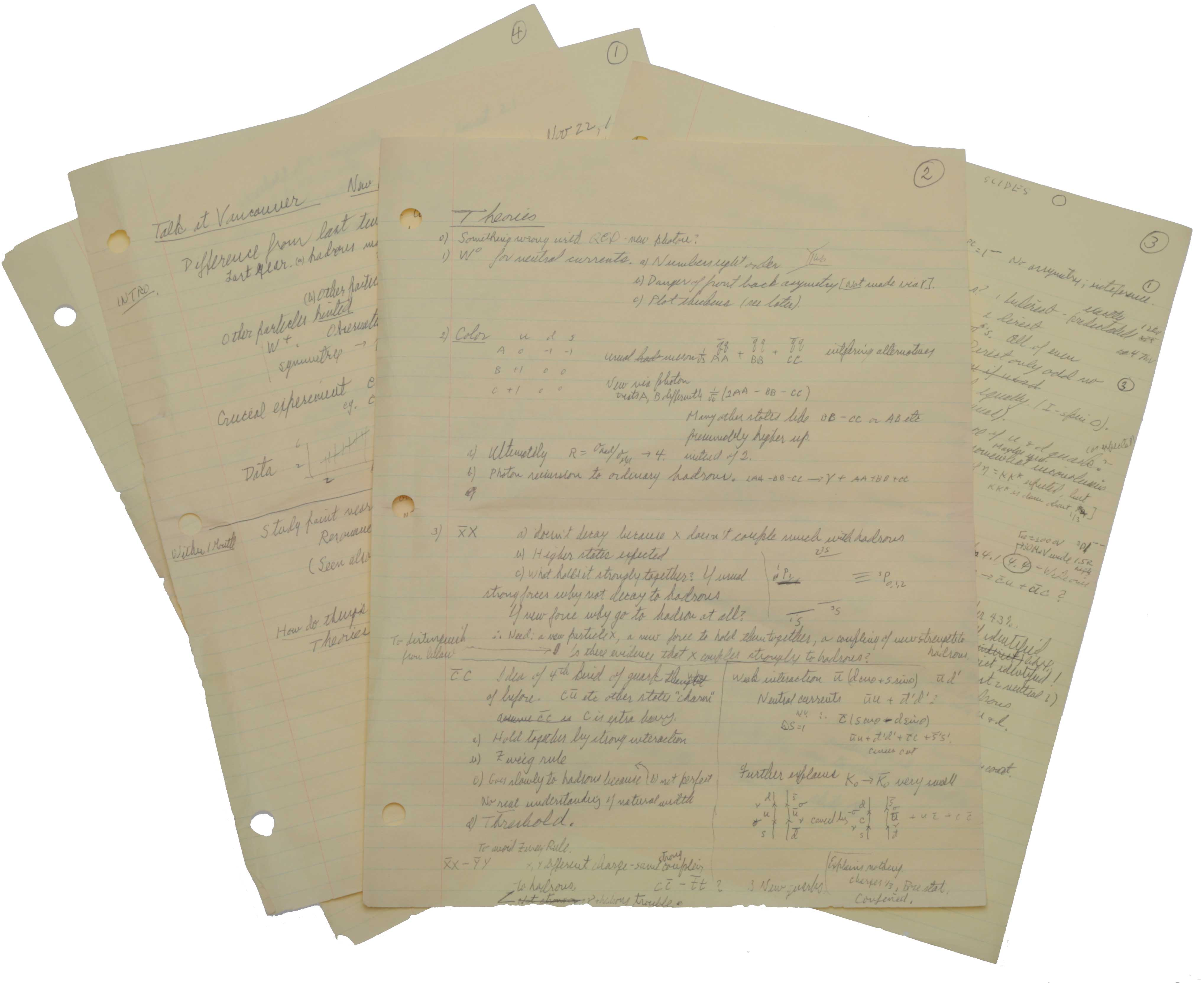 Autograph manuscript, unsigned, entitled 'Talk at Vancouver New Particles etc.' Vancouver, Canada, 22 November 1975. Richard Phillips FEYNMAN.