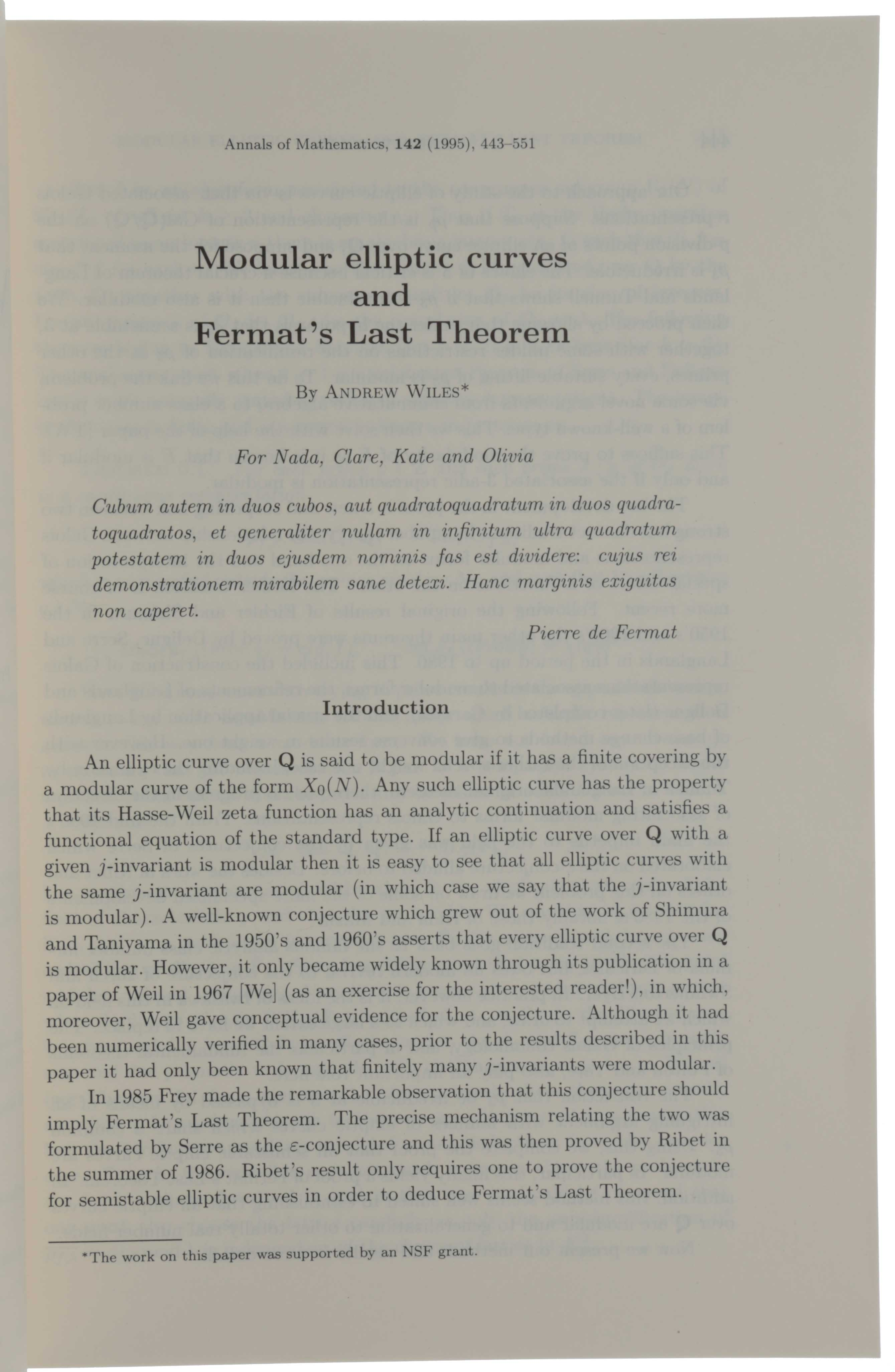 Modular elliptic curves and Fermat's Last Theorem. [with] Ring-theoretic properties of certain Hecke algebras. Andrew WILES, Richard Taylor.