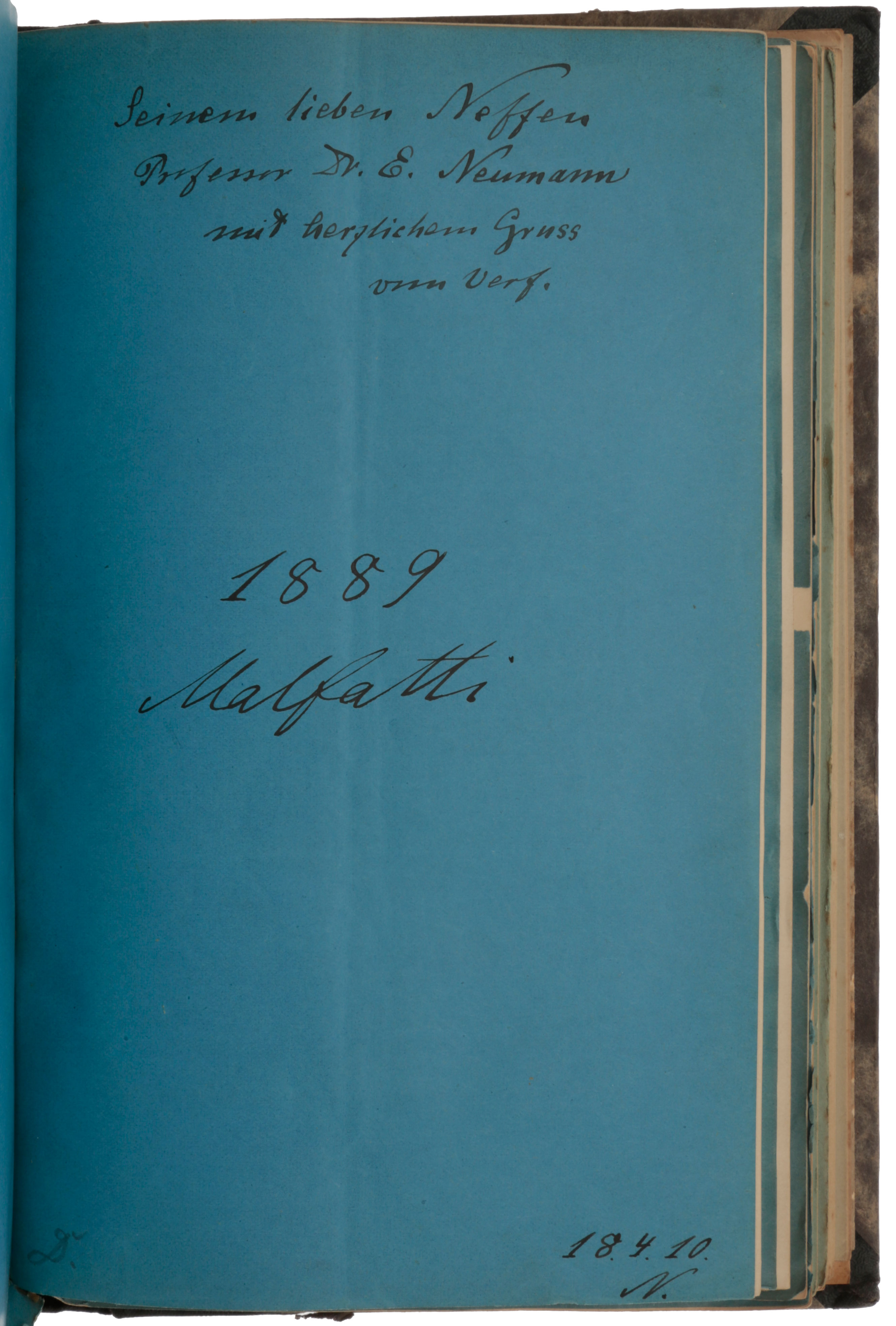 Bound collection of some 140 offprints, of which 28 are inscribed and several have annotations in the text, documenting Neumann's contributions to electromagnetism and potential theory, the subjects for which he is best known today. Carl Gottfried NEUMANN.