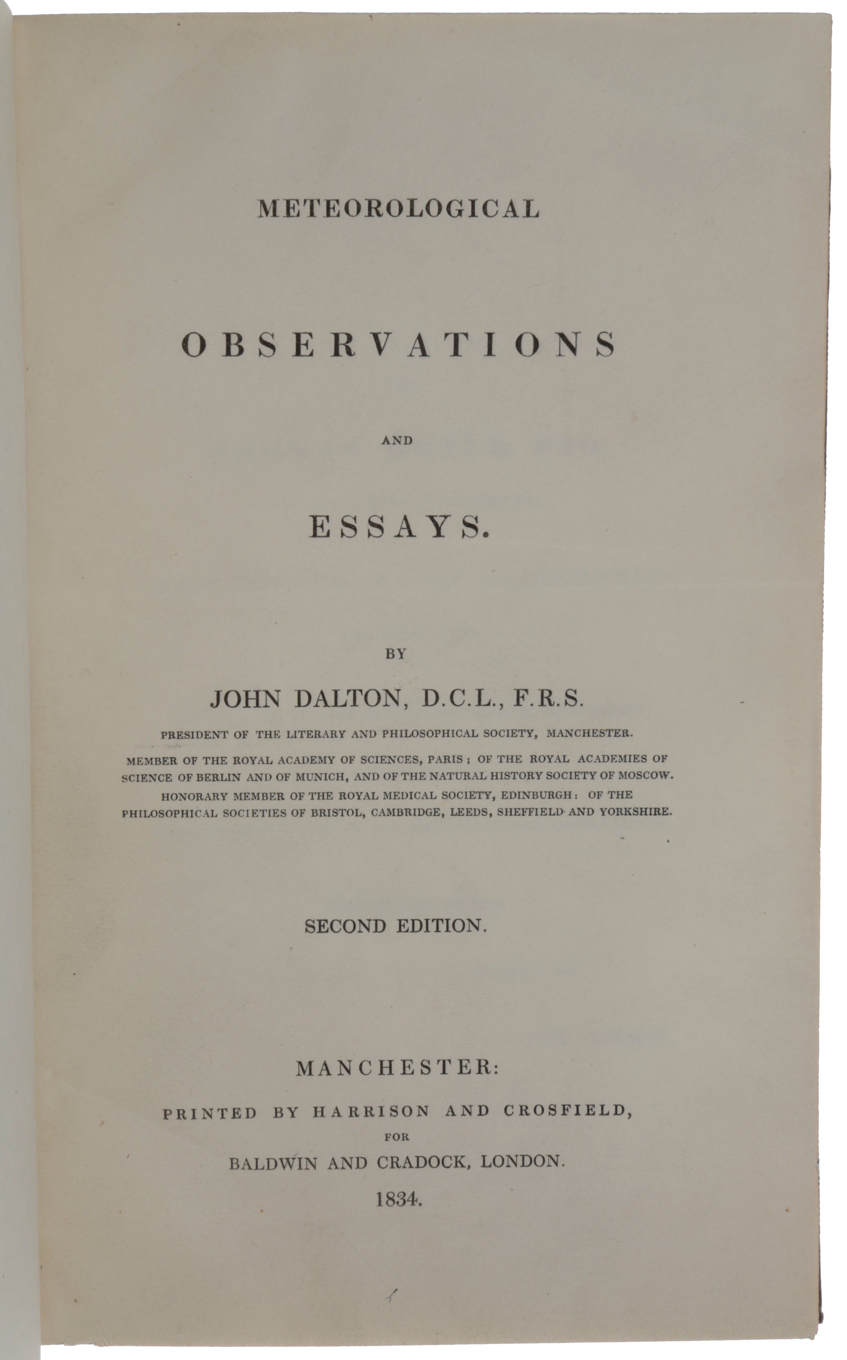 Meteorological Observations and Essays. John DALTON.