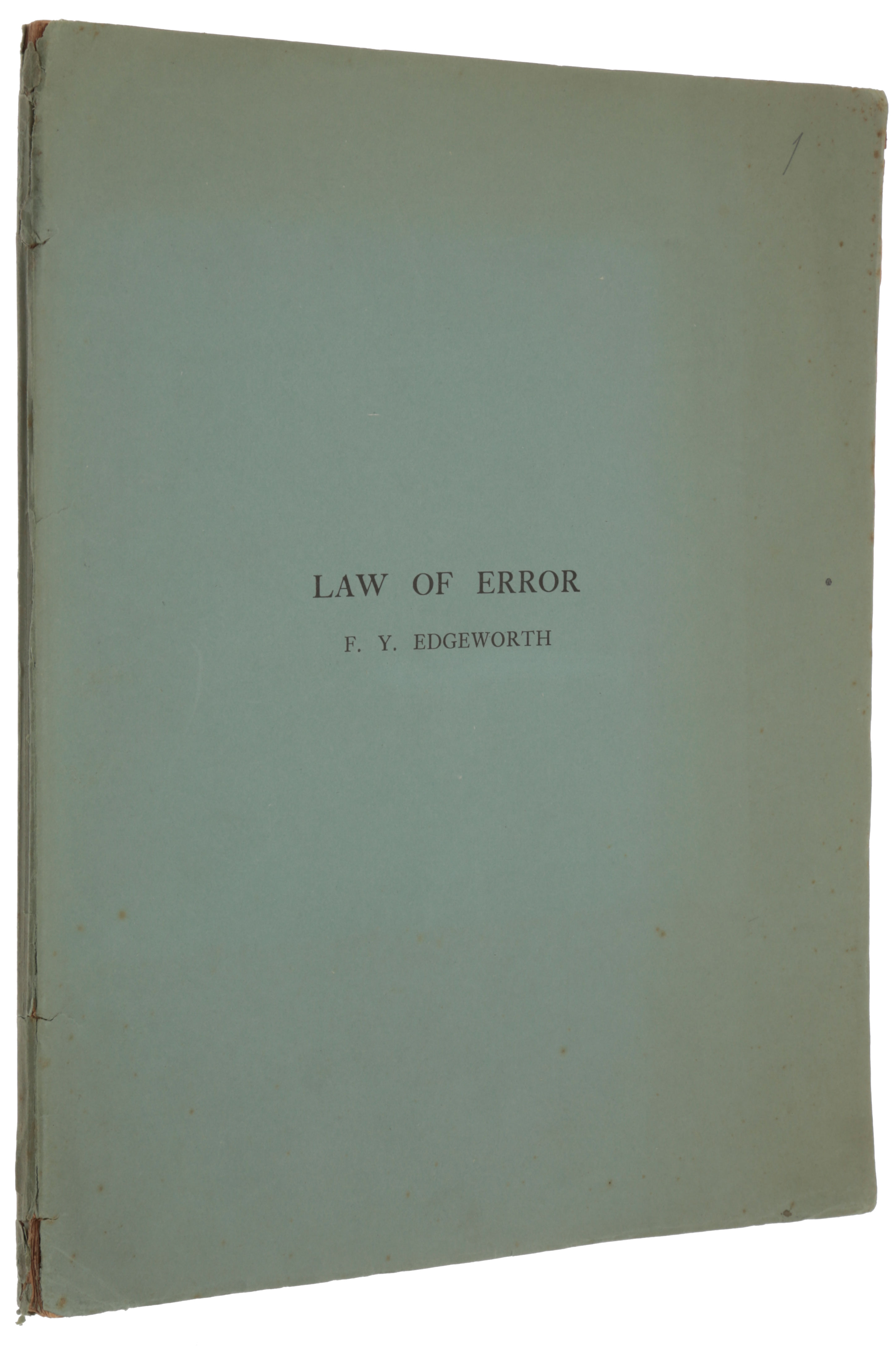 The law of error. Offprint from: Transactions of the Cambridge Philosophical Society, vol. 20, part I. Francis Ysidro EDGEWORTH.