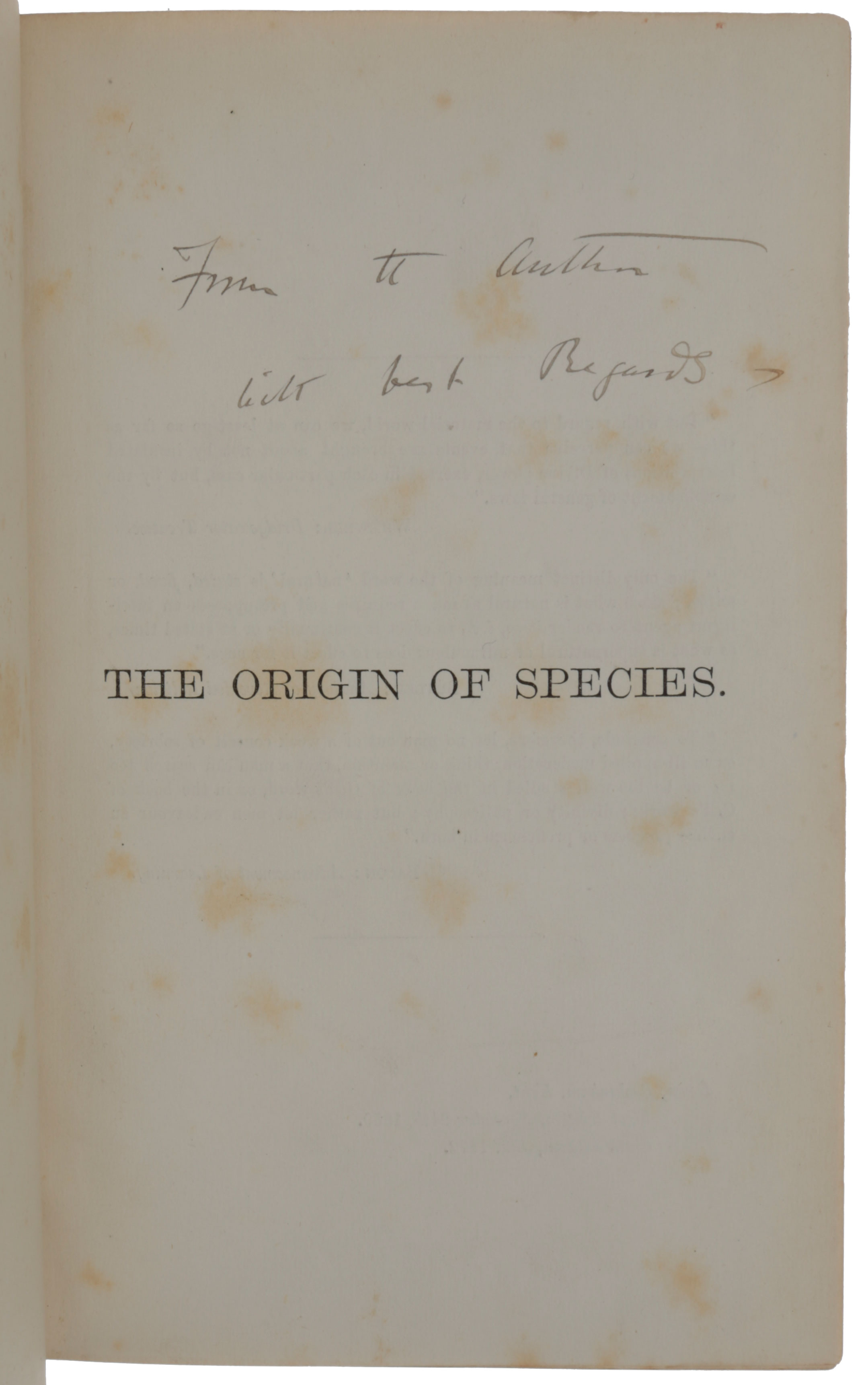 The Origin of Species by Means of Natural Selection, or the Preservation of Favoured Races in the Struggle for Life. Charles DARWIN.
