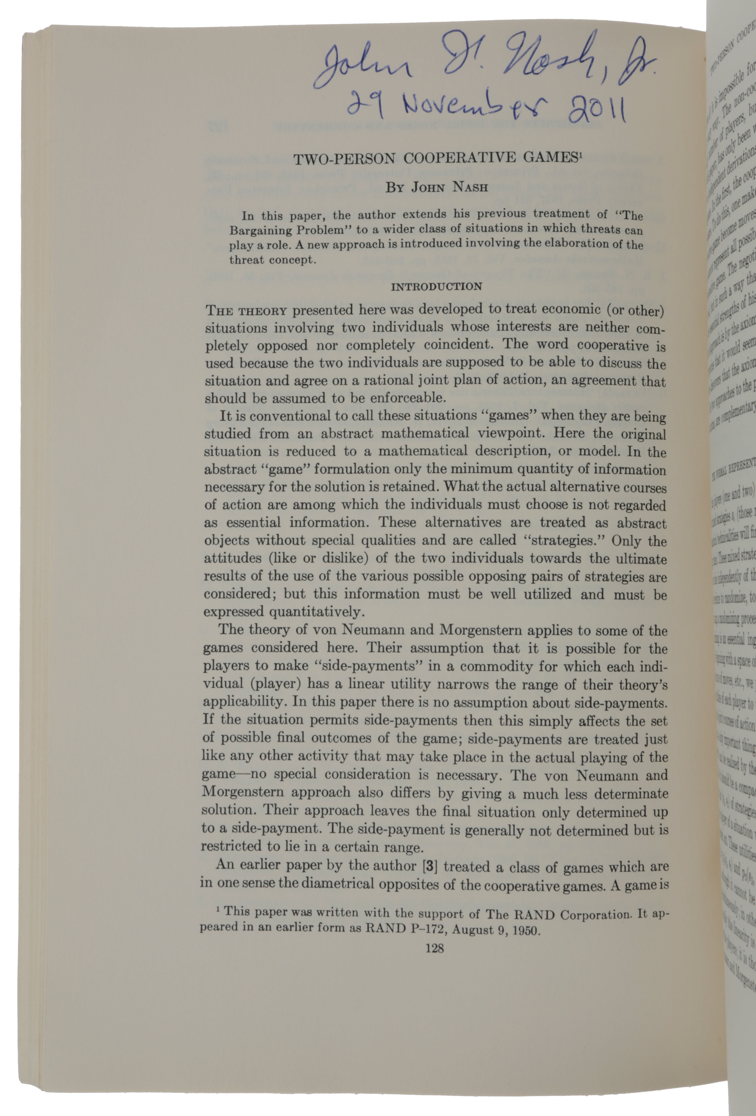 'Two-person cooperative games,' pp. 128-140 in: Econometrica, Vol. 21, No. 1, January 1953. John NASH.