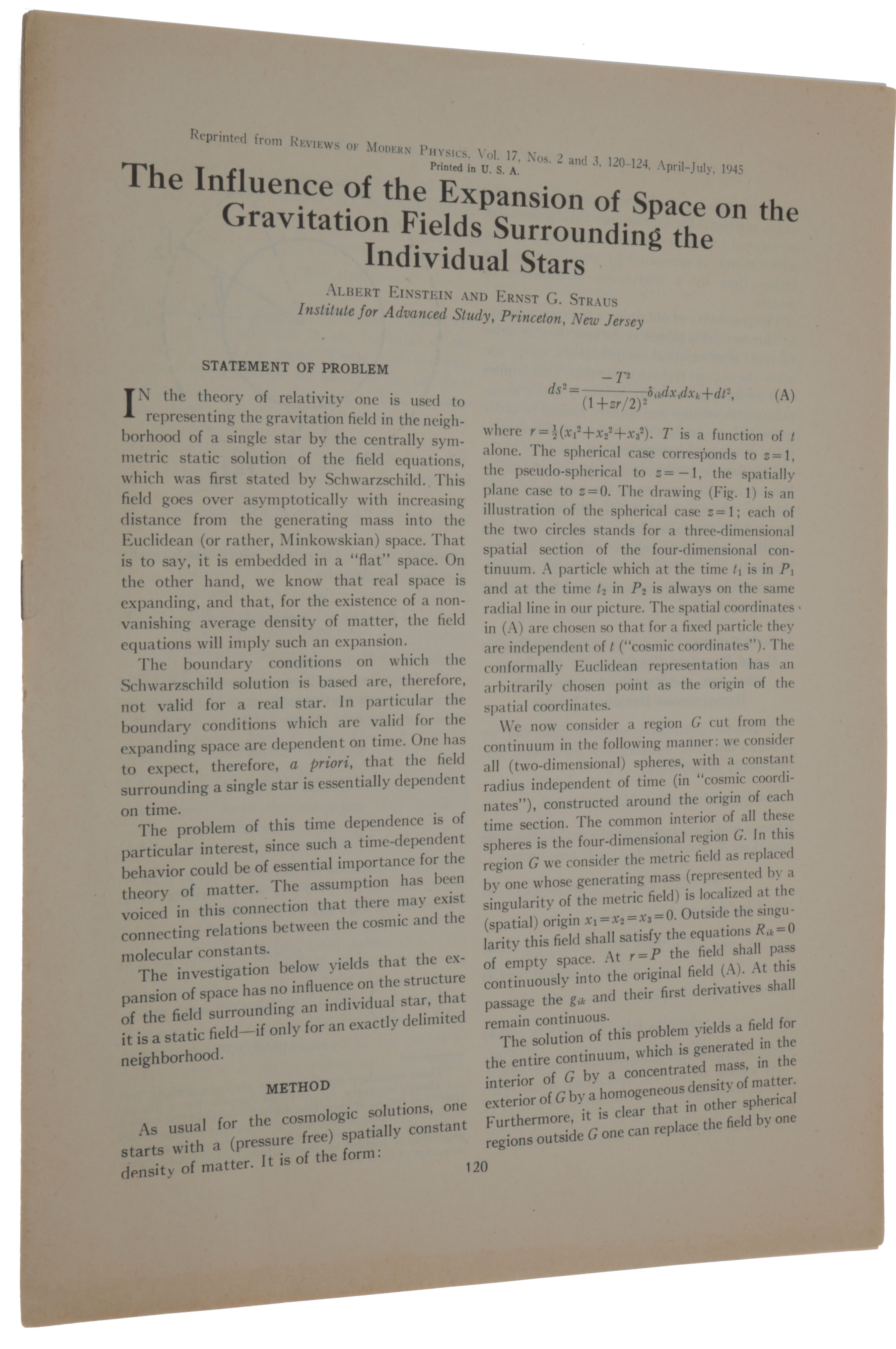 The Influence of the Expansion of Space on the Gravitation Fields Surrounding the Individual Stars. WITH: Corrections and Additional Remarks to Our Paper … Offprints from: Reviews of Modern Physics, vols. 17, no. 2/3, April-June, 1945 & vol. 18, no. 1, January-March, 1946. Albert EINSTEIN, Ernst Gabor STRAUS.