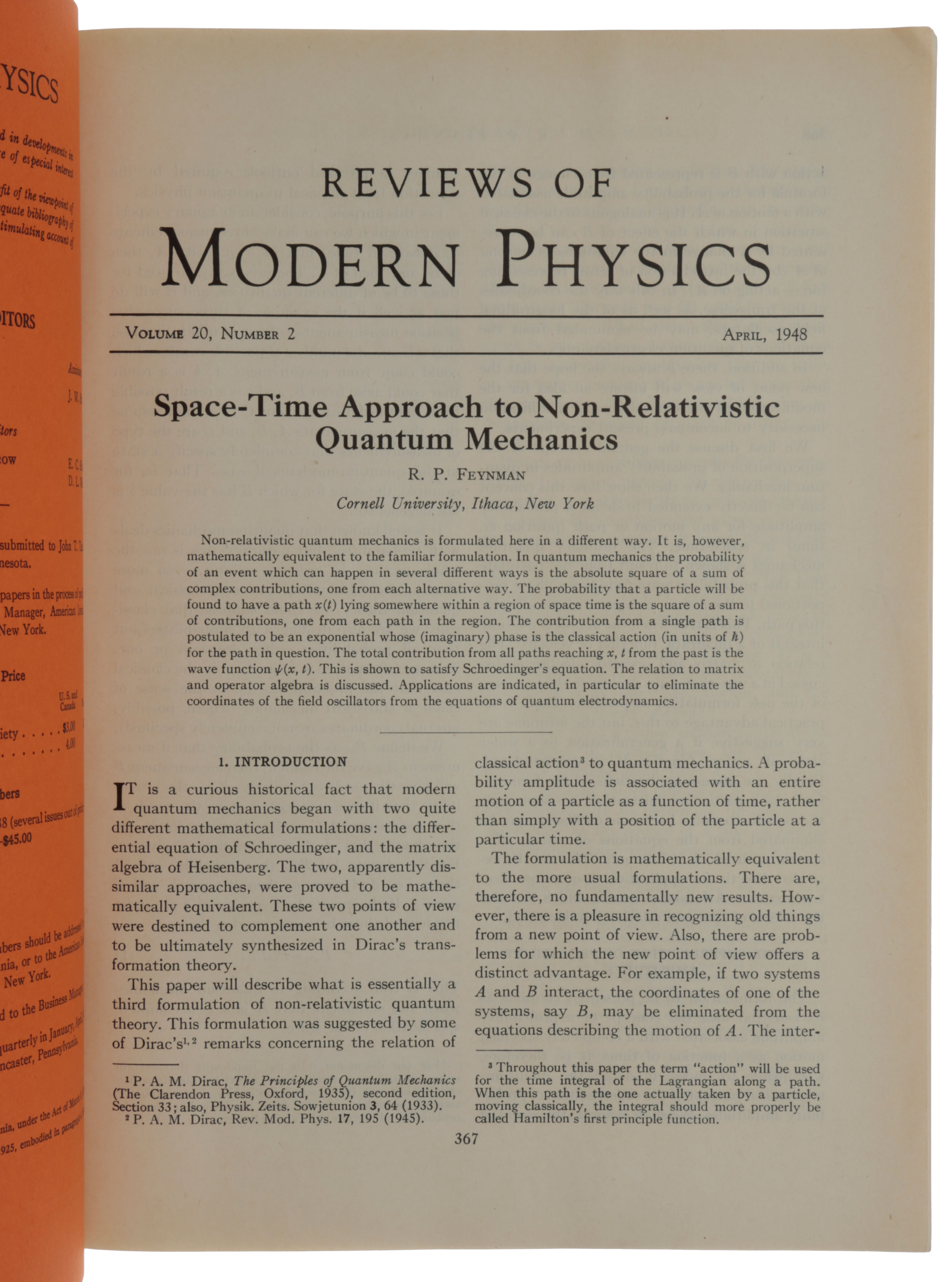 'Space-Time Approach to Non-Relativistic Quantum Mechanics,' pp. 367-387 in: Reviews of Modern Physics, Vol. 20, no. 2, April, 1948. Richard P. FEYNMAN.
