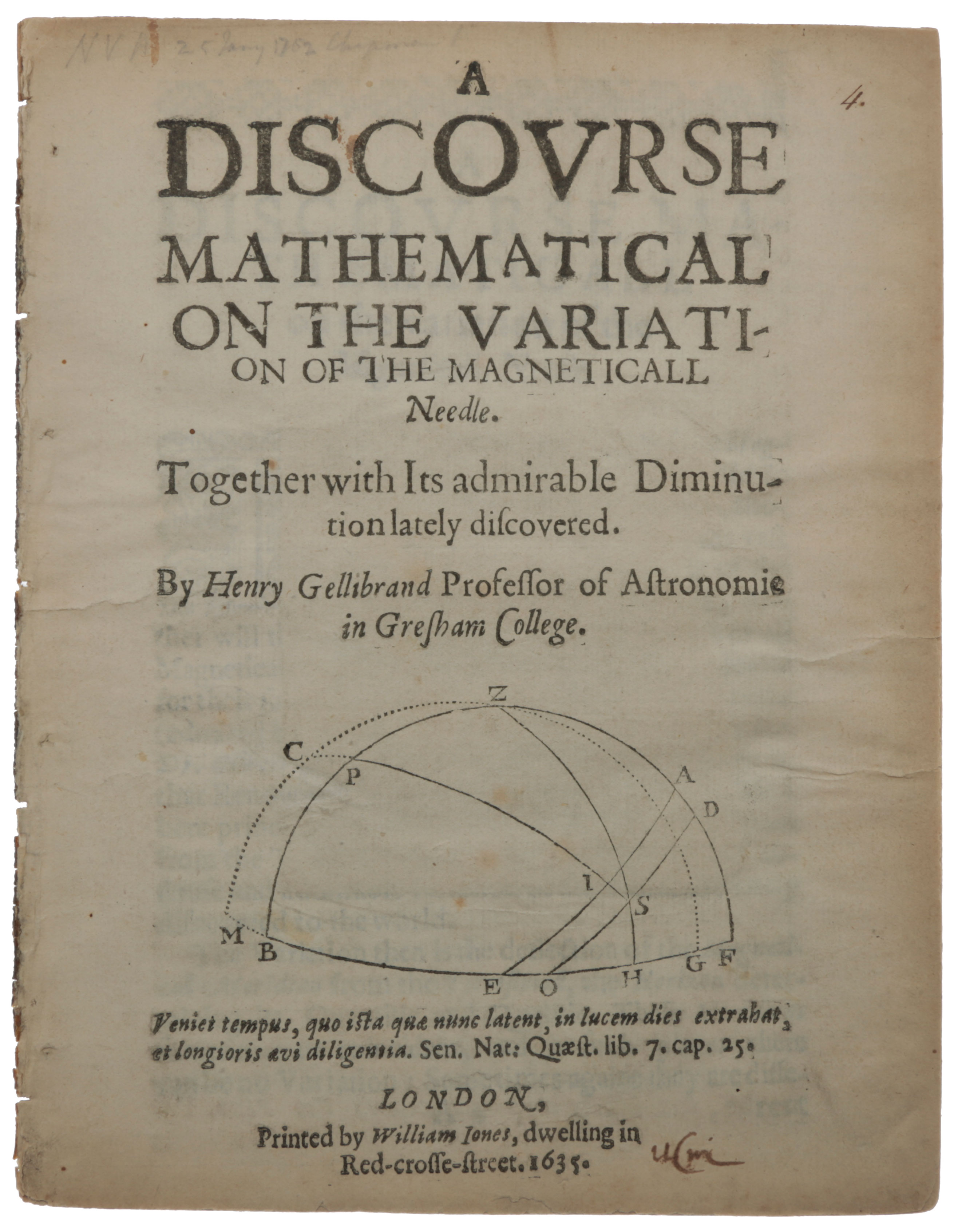 A Discourse Mathematical on the Variation of the Magneticall Needle. Together with its admirable Diminution lately discovered. Henry GELLIBRAND.