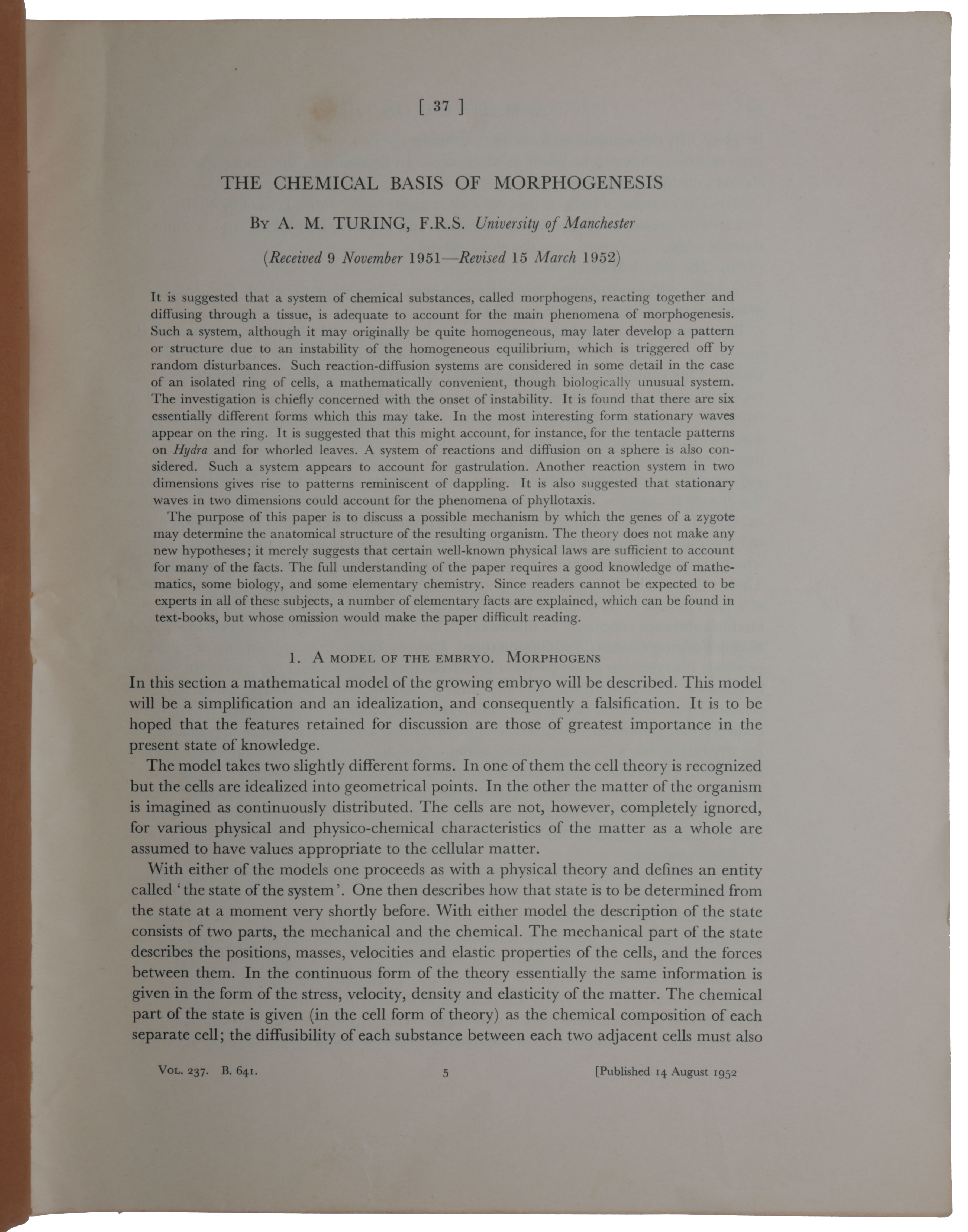 The chemical basis of morphogenesis. Offprint from: Philosophical Transactions of the Royal Society of London, Series B, Vol. 237, No. 641, 14 August, 1952. Alan Mathison TURING.