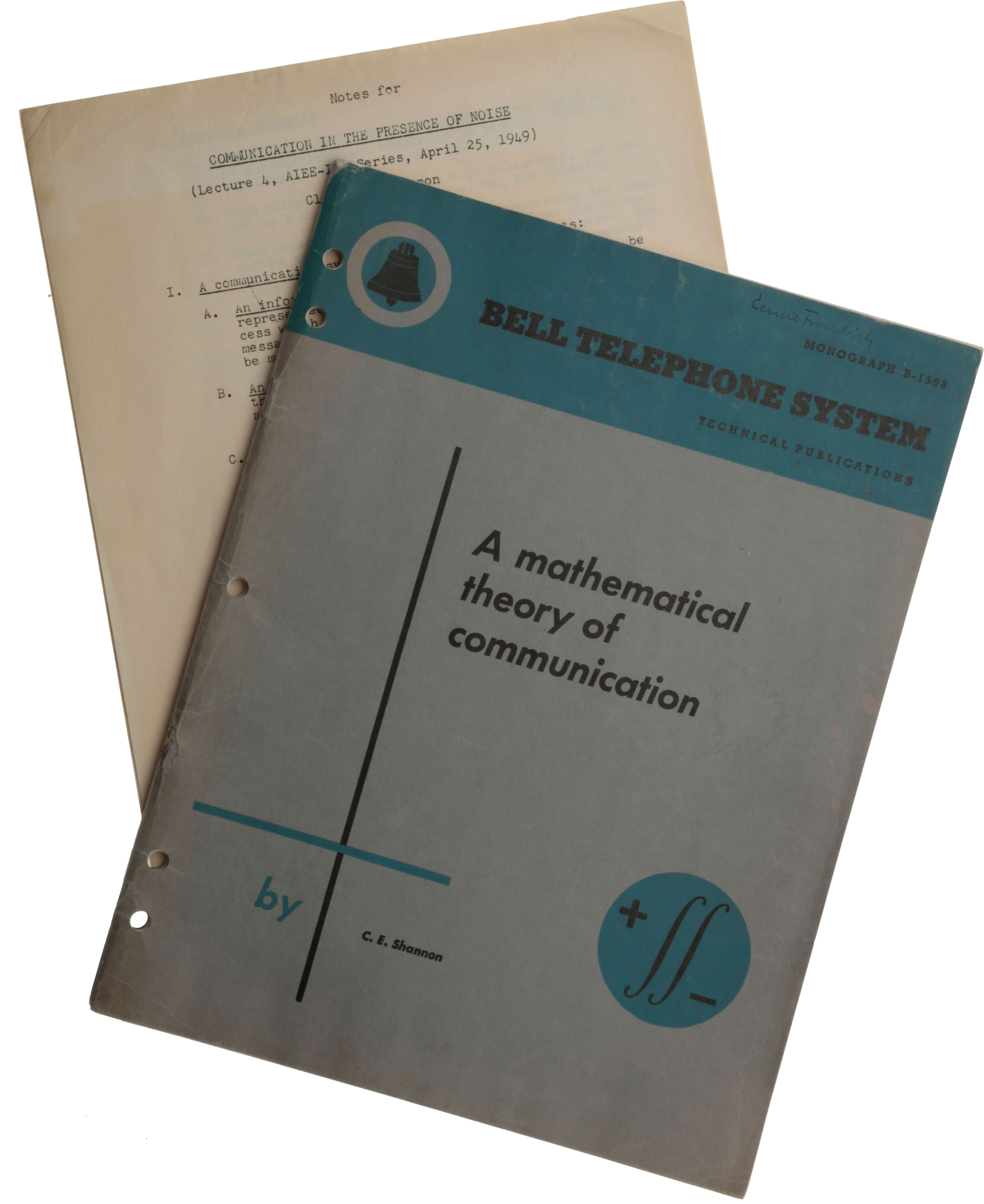 """A Mathematical Theory of Communication. Offprint from Bell System Technical Journal, Vol. 27 (July and October). [With:] Notes for """"Communication in the Presence of Noise"""" (Lecture 4, AIEE-IRE series, April 25, 1949). Mimeograph typescript. Claude Elwood SHANNON."""