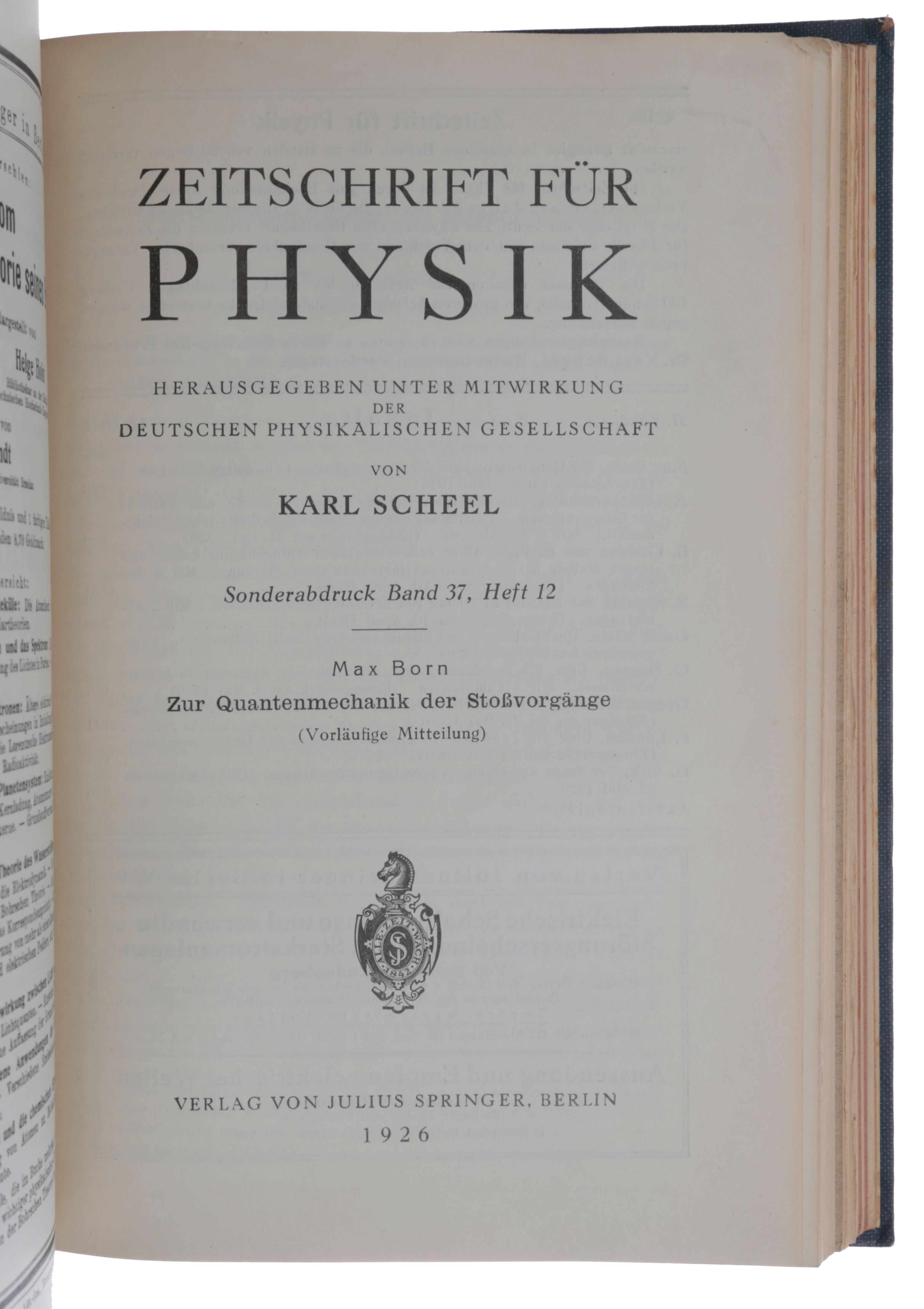 Bound volume of 25 offprints, including the four papers in which Born introduced the probability (or Copenhagen) interpretation of quantum mechanics (1926), two giving Heisenberg's explanation of the anomalous Zeeman effect on the basis of the Bohr-Sommerfeld quantum theory (1924/5), and two more by Heisenberg giving his solution of the Helium problem by means of his new quantum mechanics (1926/7). Max BORN, Werner HEISENBERG.