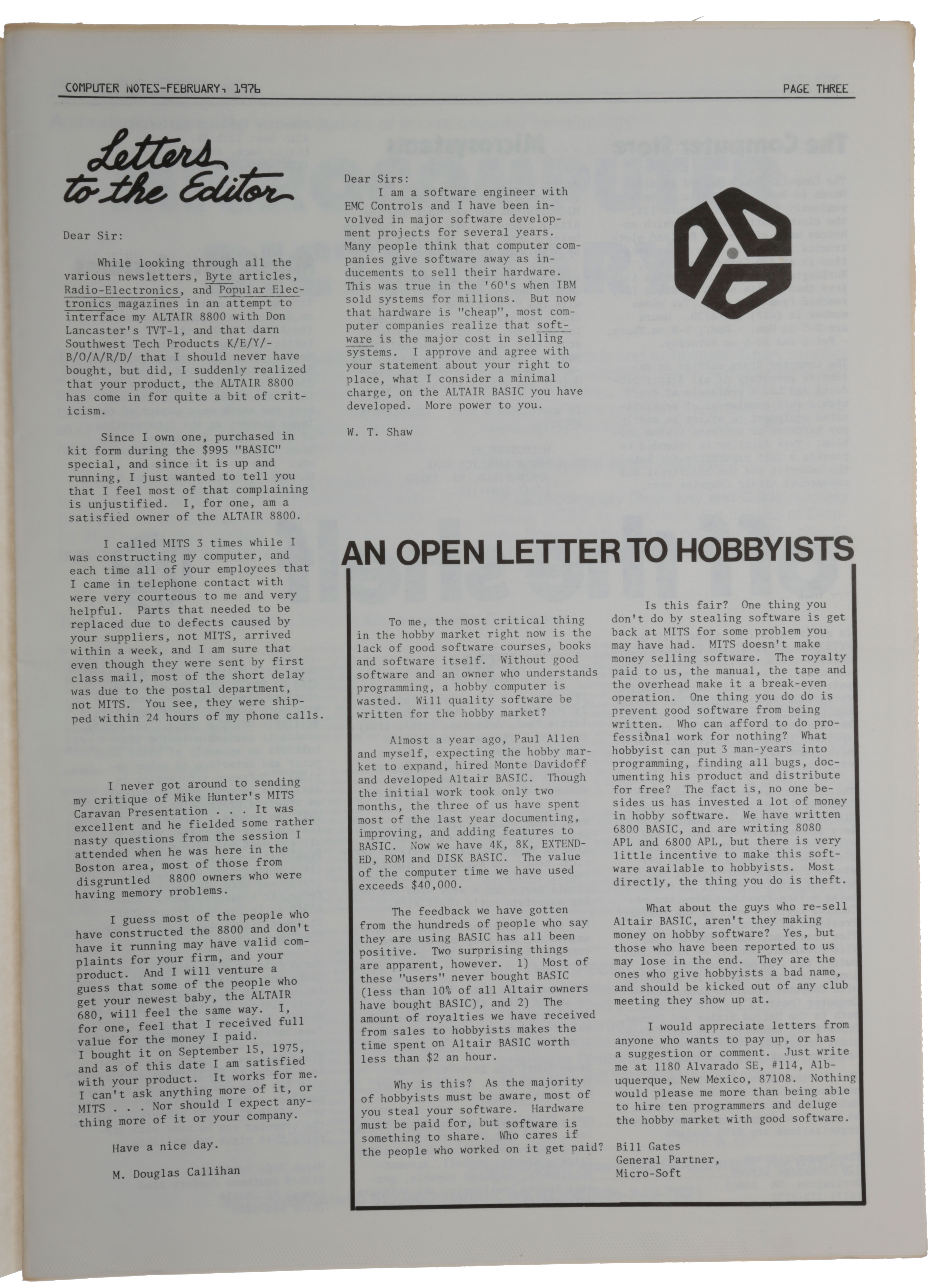 'An open letter to the hobbyists,' p. 3 in Computer Notes, Vol. 1, No. 9, February 1976. William Henry III GATES, Bill.