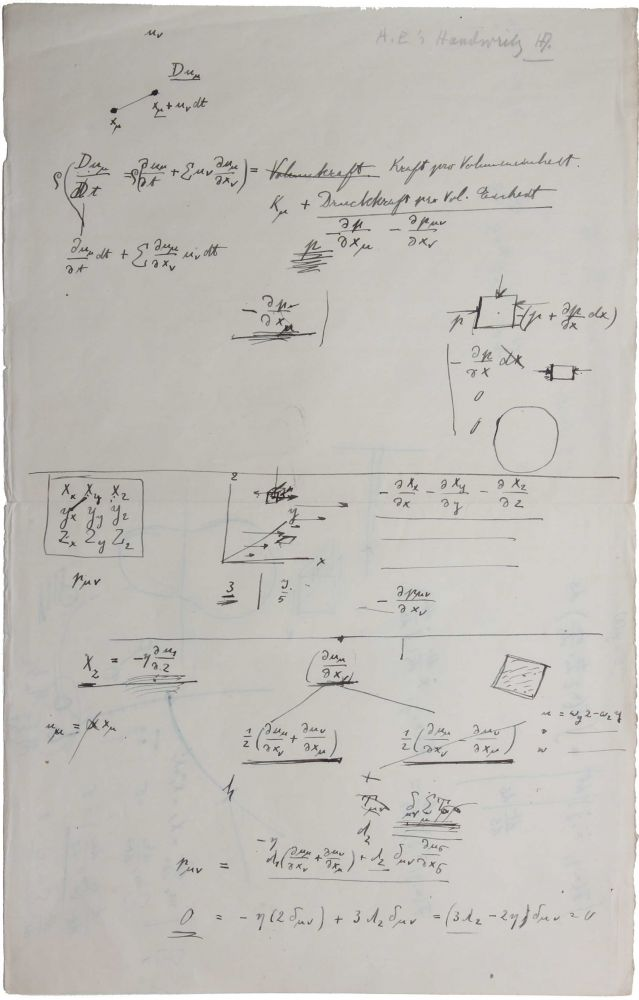 "Autograph scientific notes on relativity theory. 1 leaf, written on both sides. With certification in pencil in the hand of Helen Dukas, Einstein's longtime secretary: ""A. E.'s handwriting. HD."" From the library of historian of physics Jagdish Mehra (1931-2008)."