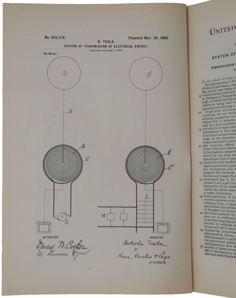 Collection of 50 original patents. Nikola TESLA