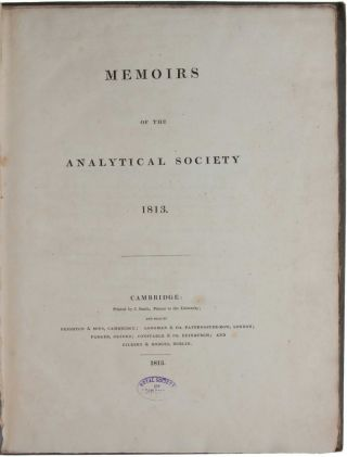 Memoirs of the Analytical Society 1813.
