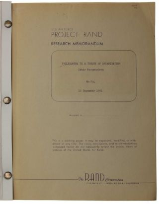 Prolegomena to a theory of organization. U.S. Air Force Project RAND report RM-734.