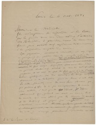 Signed autograph manuscript, being the original draft version with corrections, of a letter by...