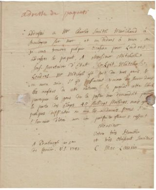 Signed autograph letter, four pages in French, to Jean-Jacques d'Ortous de Mairan, secretary of...