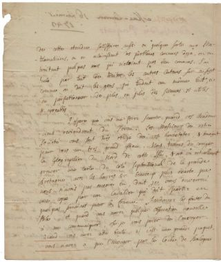 Signed autograph letter, four pages in French, to Jean-Jacques d'Ortous de Mairan, secretary of the Académie des Sciences in Paris, discussing Maclaurin's Treatise of Fluxions, and also the Académie's geodetic mission to Peru.