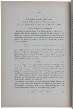 A Theory of Electrons and Protons.