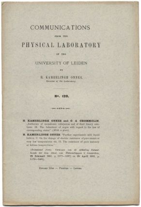 'Further experiments with liquid helium. C. On the change of electric resistance of pure metals at very low temperature etc. IV. The resistance of pure mercury at helium temperatures,'pp. 3-5 (second series) in Communications of the Physical Laboratory of the University of Leiden, No. 120b, April 1911.