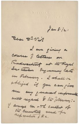 Autograph letter signed 'E Rutherford' to Charles Herman Viol, 8 January 1921. Three pages on two sheets. Ernest RUTHERFORD.