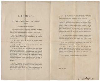 "Four sets of instructions for the game Lanrick invented by Dodgson. Comprising the first two printings of the game (16 January & 20 February 1879), the first with Dodgson's autograph additions and corrections, together with the second ""official"" edition [July 1881], and a cyclostyled copy of Dodgson's autograph instructions for the game (25 October 1880)."