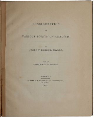 Consideration of Various Points of Analysis. Offprint from Philosophical Transactions. John...