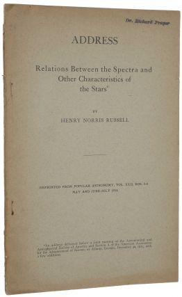 Relations Between the Spectra and Other Characteristics of the Stars. Offprint from Popular...