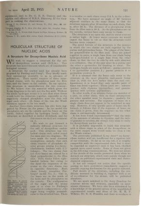 The six milestone papers on the structure of DNA in original wrappers:] 1. WATSON, J. D. & CRICK,...
