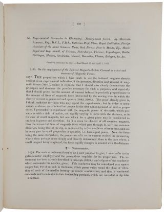 Experimental researches in electricity – twenty-eight series. On the Lines of Magnetic Force; their definitive character; and their distribution within a Magnet and through Space. [With:] Ibid. – twenty-ninth series. On the employment of the Induced Magneto-electric Current as a test and measure of Magnetic Forces.