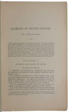Elements of Vector Analysis: arranged for the use in students of physics. Not published.