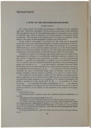 A Note of the Entscheidungsproblem.