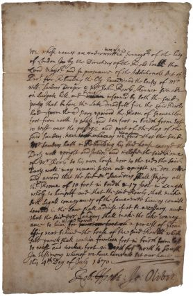 Autograph report in Hooke's hand, and signed by him, as surveyor of the City of London...