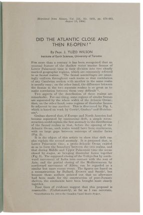 Did The Atlantic Close And Then Re-Open? Offprint from: Nature, Vol. 211, No. 5050, August 13,...