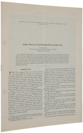 Atomic theory of liquid helium near absolute zero. Offprint from Physical Review, Vol. 91, No. 6,...