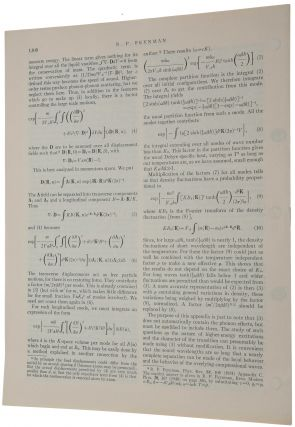 Atomic theory of liquid helium near absolute zero. Offprint from Physical Review, Vol. 91, No. 6, September 15, 1953.