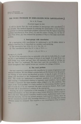 'The Word problem in Semi-groups with Cancellation,' pp. 491-505 in Annals of Mathematics, Second Series, Vol. 2, No. 52, September 1950.