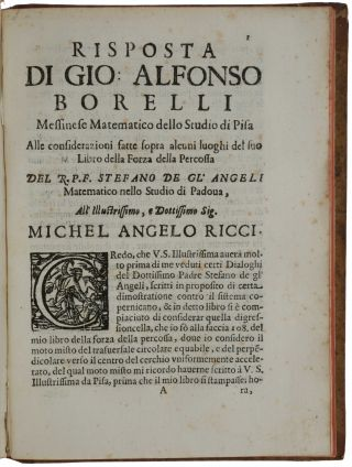 De vi percussionis liber. Bologna: Giacopo Monti, 1667. [Bound with:] [Drop-title:] Risposta ......