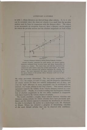 'A Relation between Distance and Radial Velocity among Extra-Galactic Nebulae.' Offprint from Proceedings of the National Academy of Sciences, Vol. 15, No. 3. N. p. [Washington, D.C.]: Carnegie Institution, 1929. [Offered with:] Signature of Edwin Hubble on section of an envelope sent on November 13, 1941 from Mount Wilson, where the observations leading to Hubble's discovery of the expansion of the universe were carried out, retaining printed address of the Mount Wilson Observatory and stamp.