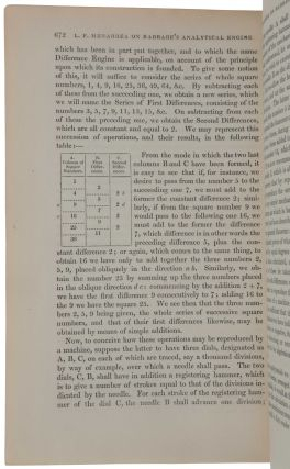 Sketch of the Analytical Engine invented by Charles Babbage Esq. By L. F. Menabrea of Turin, Officer of the Military Engineers, with Notes by the Translator.
