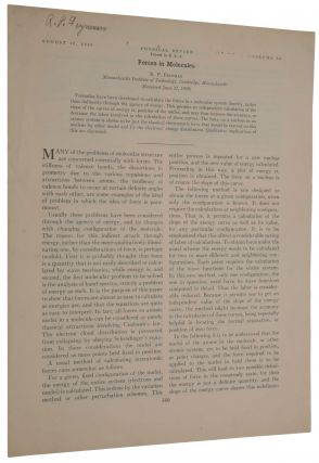 Forces in molecules. Offprint from: Physical Review, Second Series, Vol. 56, No. 4, August 15,...