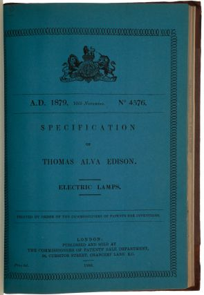 Specification of Thomas Alva Edison. Electric lamps. No. 4576, 10 November, 1879. [Bound with...