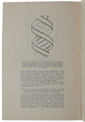 Helical structure of crystalline deoxypentose nucleic acid. Offprint from: Nature, Vol. 172, No. 4382, October 24, 1953.