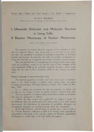 I. Ultraviolet dichroism and molecular structure in living cells. II. Electron microscopy of nuclear membranes. Lecture given at the Symposium on Submicroscopical Structure of Protoplasm, May 22-25, 1951, at the Naples Zoological Station. Offprint from: Pubblicazioni della Stazione Zoologica di Napoli, Vol. XXIII, Supplemento.