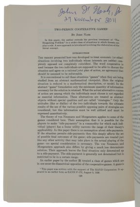 'Two-person cooperative games,' pp. 128-140 in: Econometrica, Vol. 21, No. 1, January 1953....